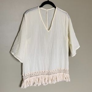 Yerbabuena sheer cream cotton fringe top